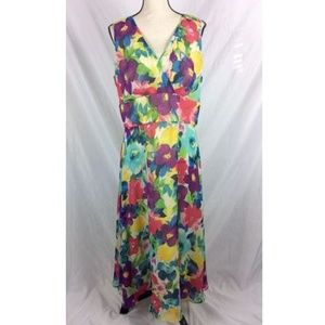 Coldwater Creek Dress Sleeveless Floral Long Maxi